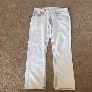 Men's White True Religion Jeans